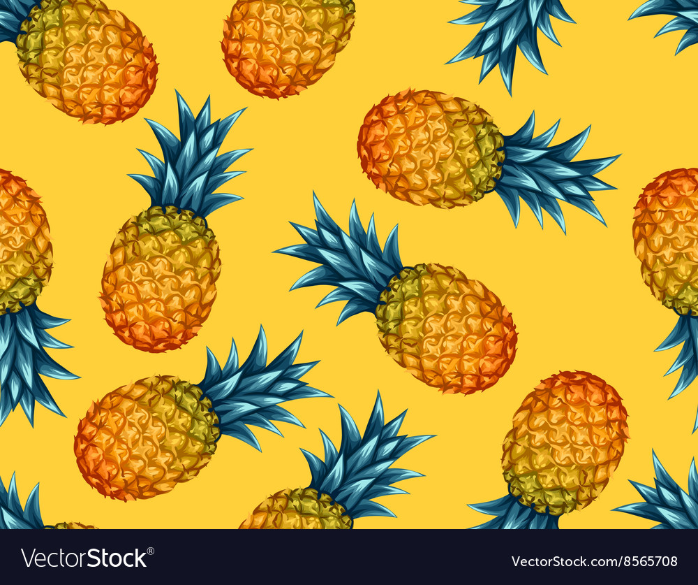 Seamless pattern with pineapples Tropical