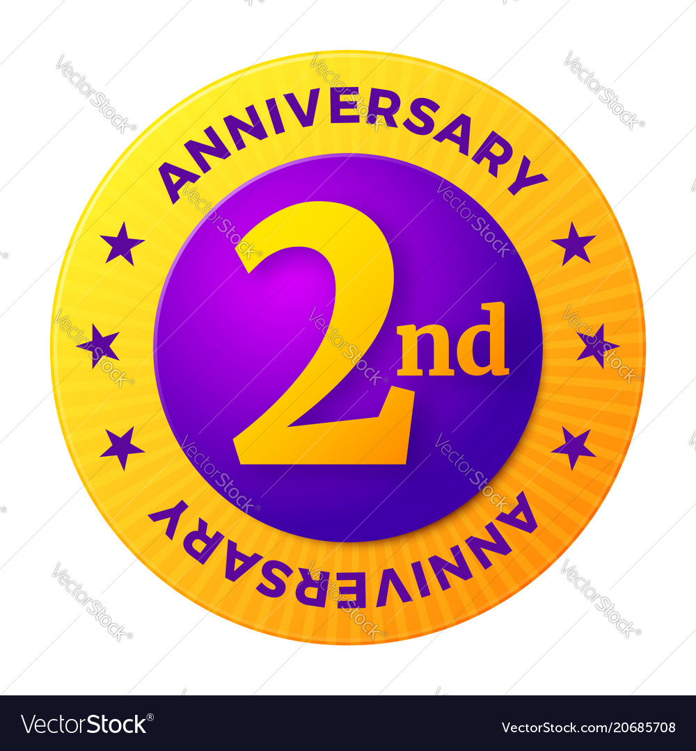 Second anniversary badge gold celebration label