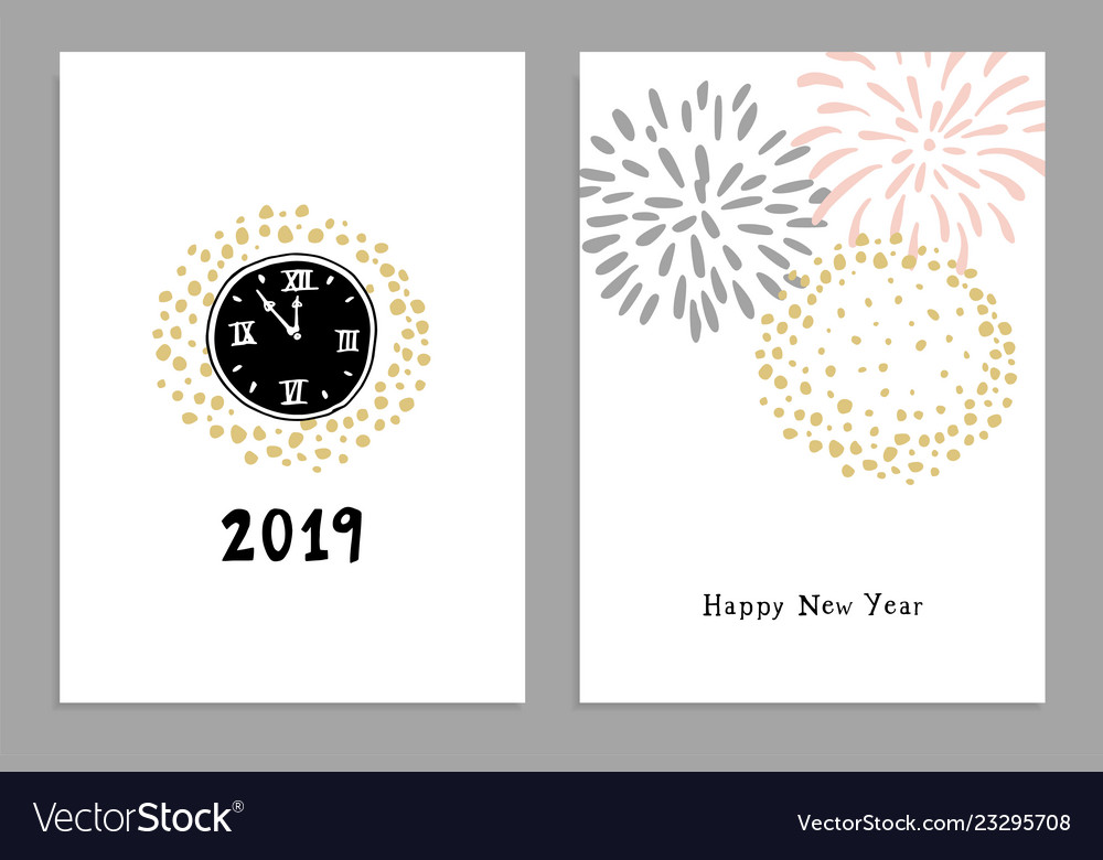 Set of happy new year 2019 greeting cards party