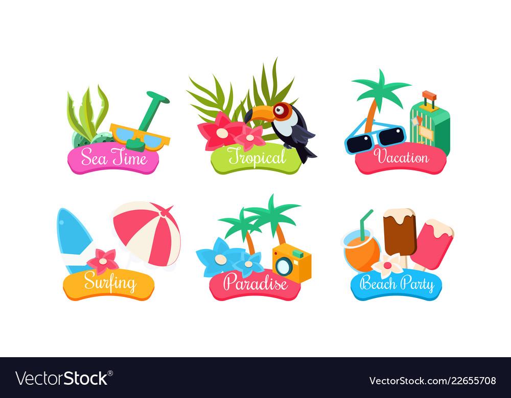Summer travel logo template set sea time