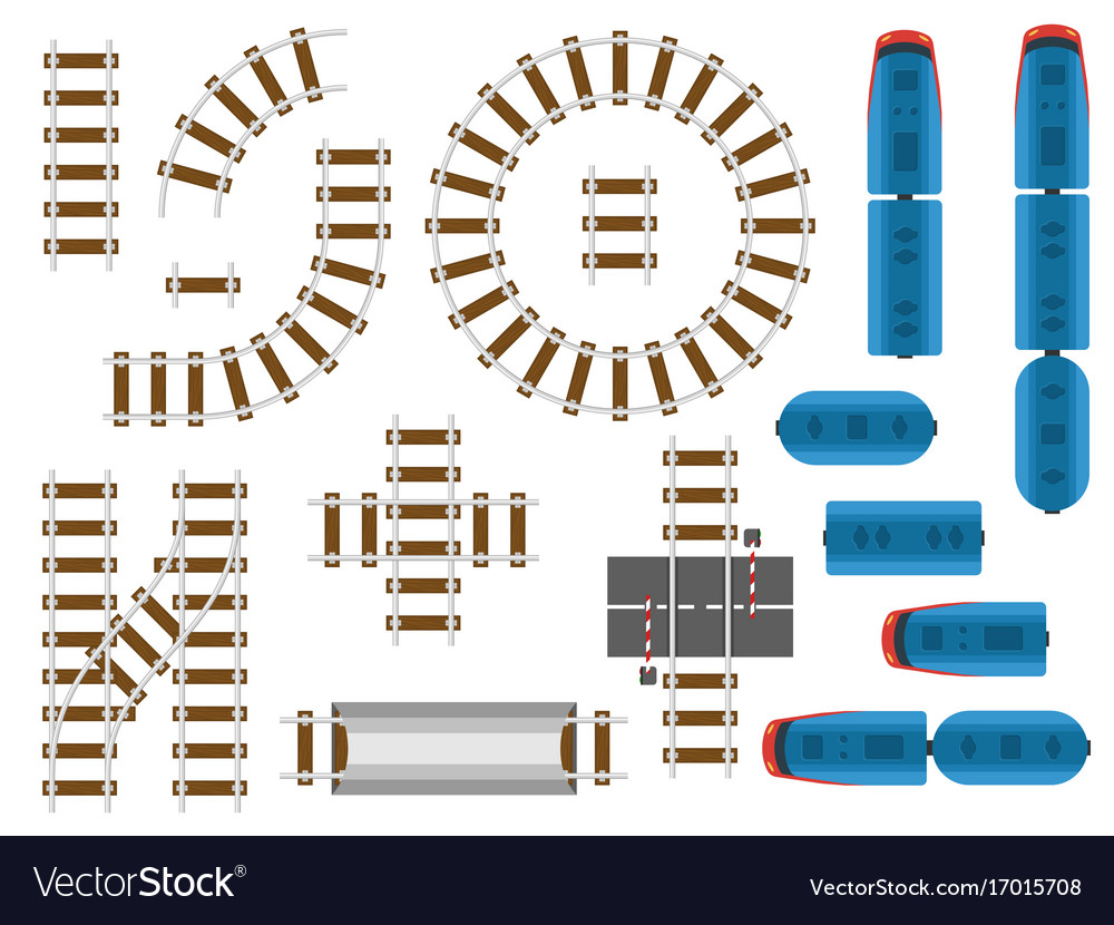 Top view railway tracks and railroad transport