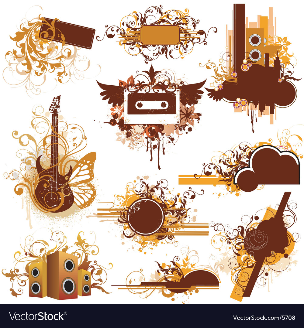 Urban music graphic frames Royalty Free Vector Image