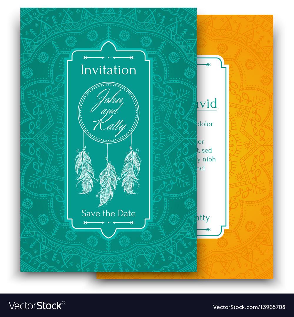 Wedding invitation card with beautiful ethnic