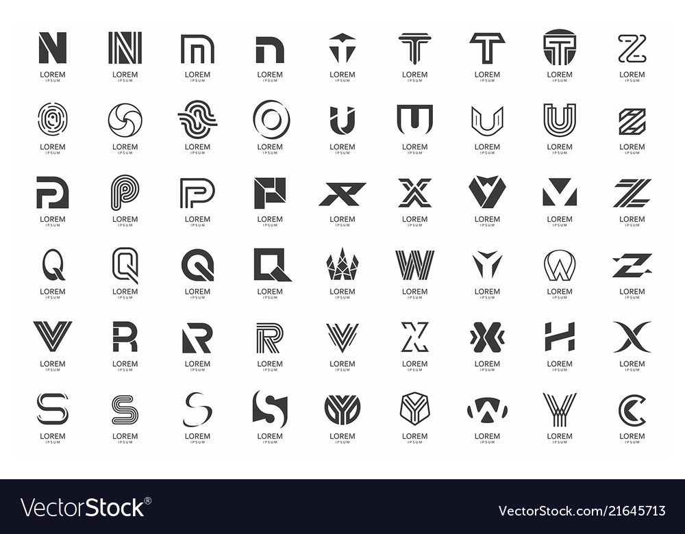 Abstract logos collection with letters