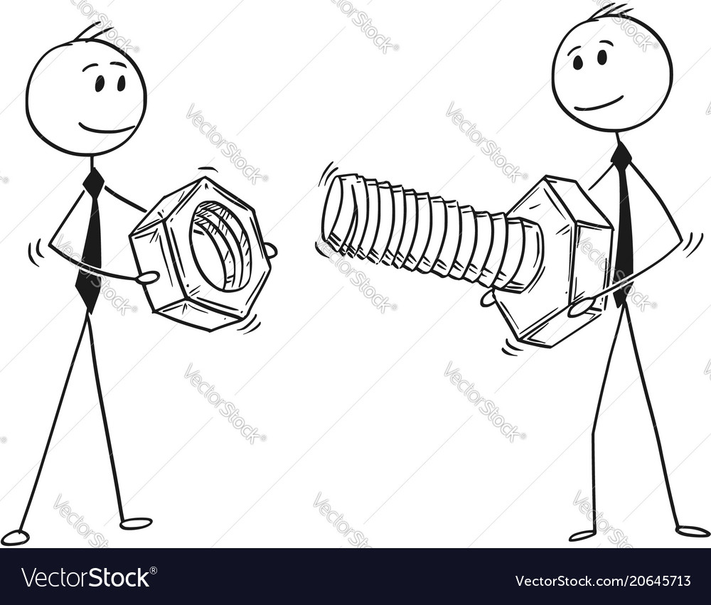 Cartoon of two businessmen carrying bolt and nut vector image