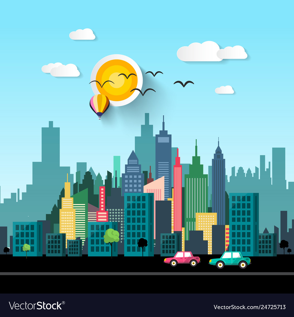 City life flat design with cars on street and