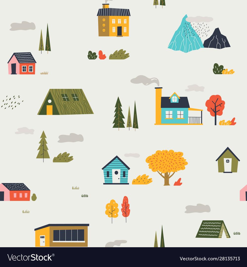 Cute houses pattern funny cartoon kids seamless