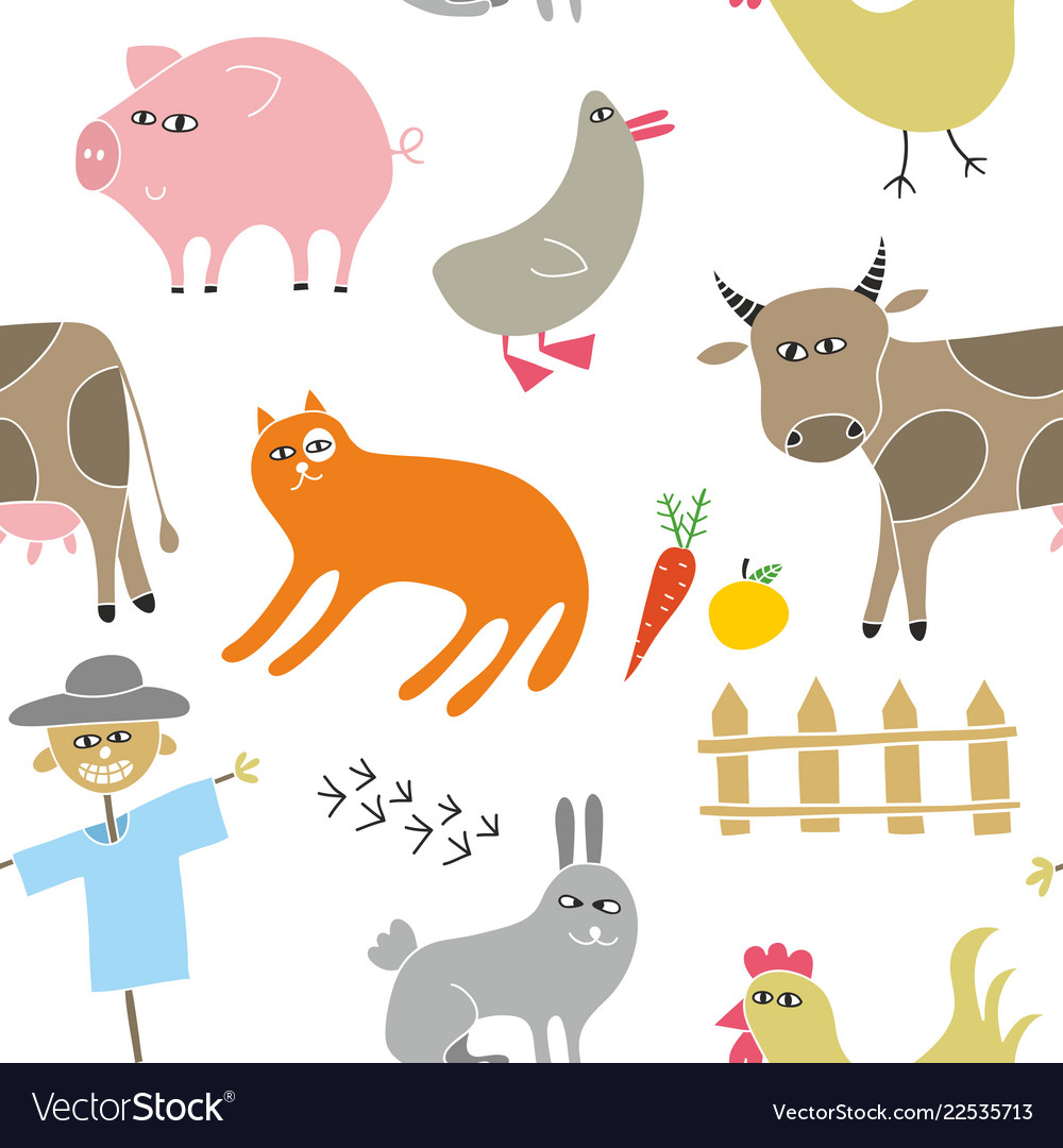 Decorative seamless pattern with animals from the