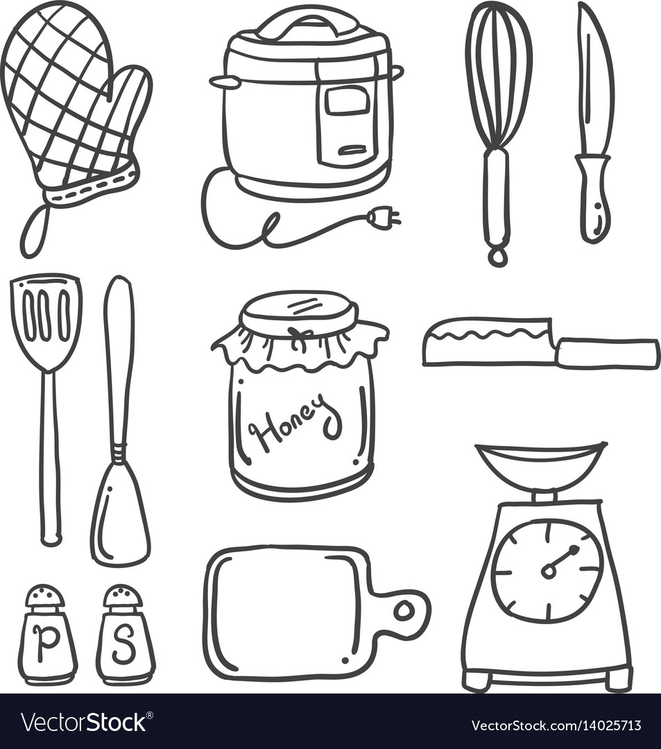 Doodle Of Kitchen Set Style Hand Draw Royalty Free Vector