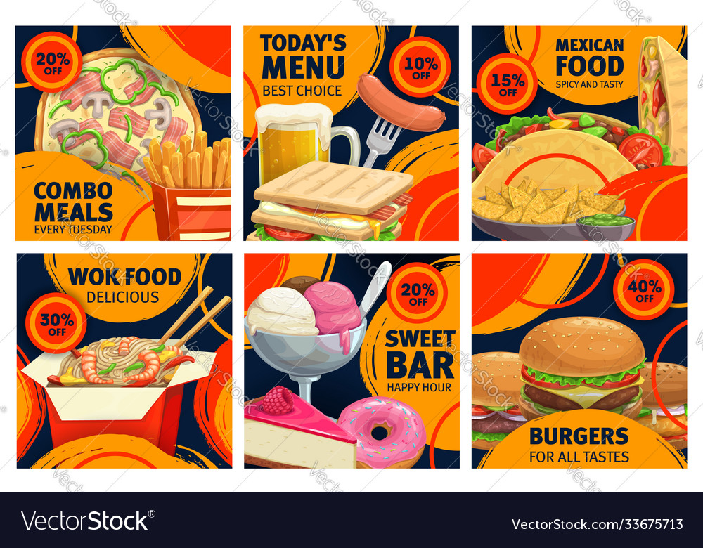 Fast food combo meals sale promo posters set