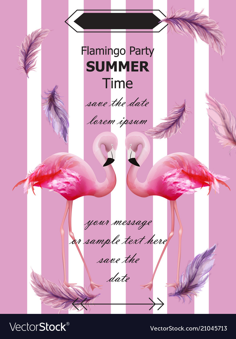 Flamingos party summer card tropic exotic