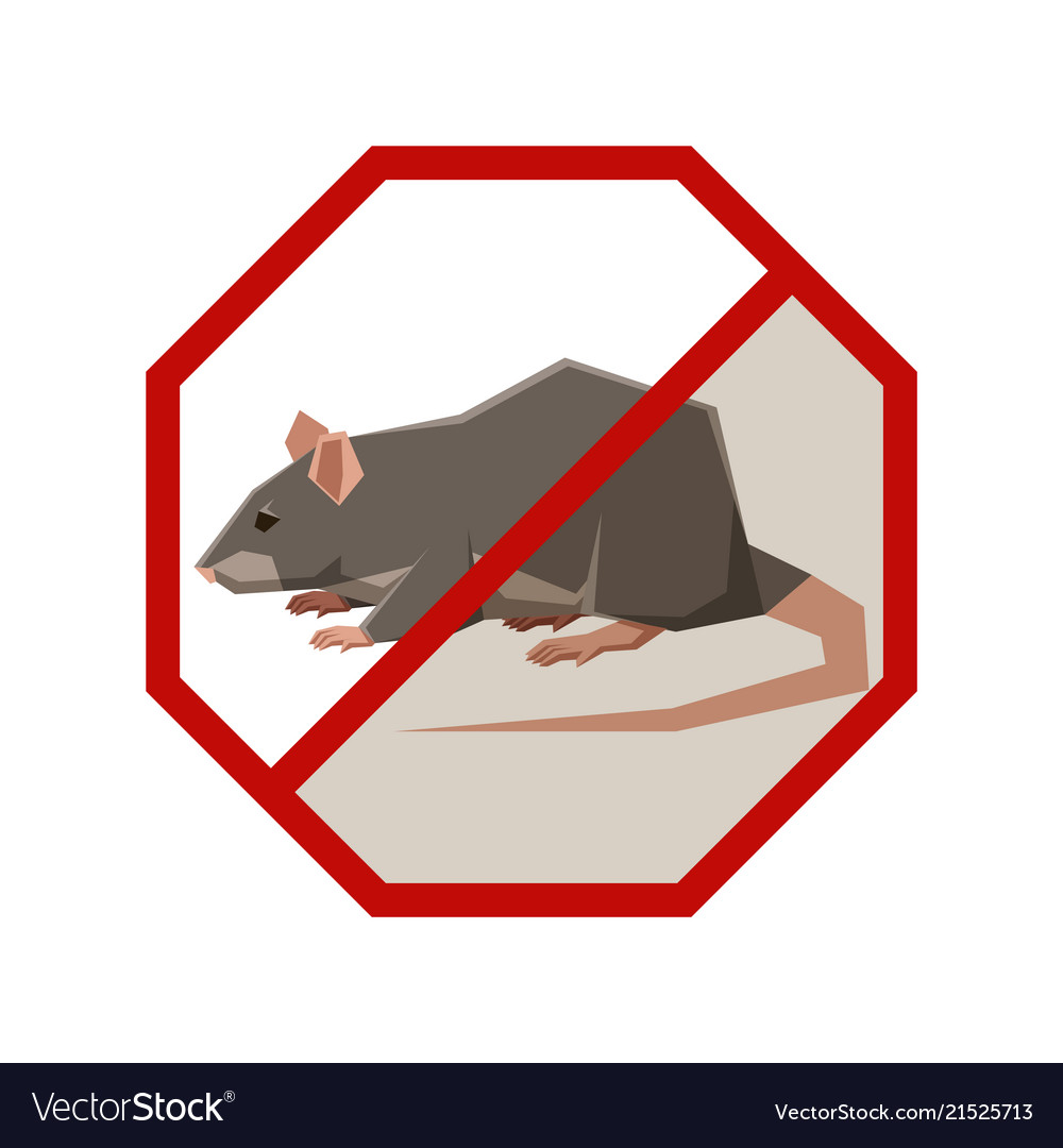 Flat polygonal sign with rat