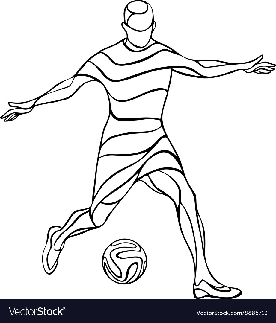 Football or soccer player silhouette with ball