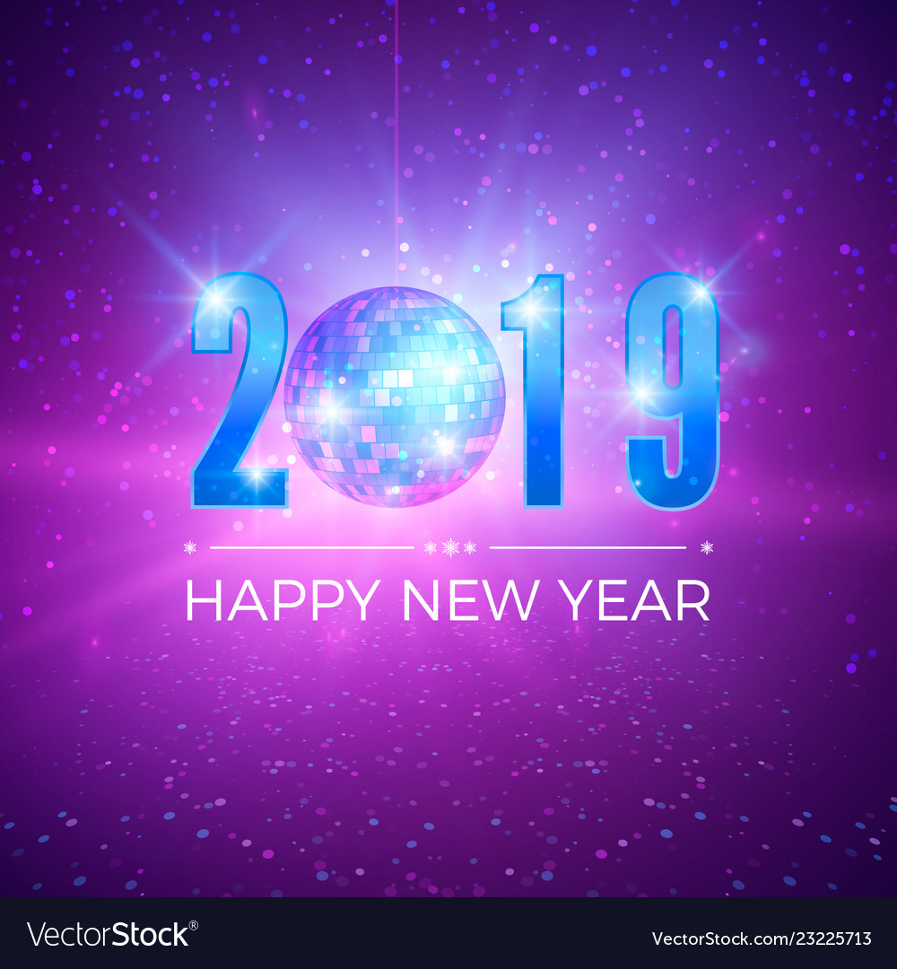 New year party card with numbers 2019 shiny disco