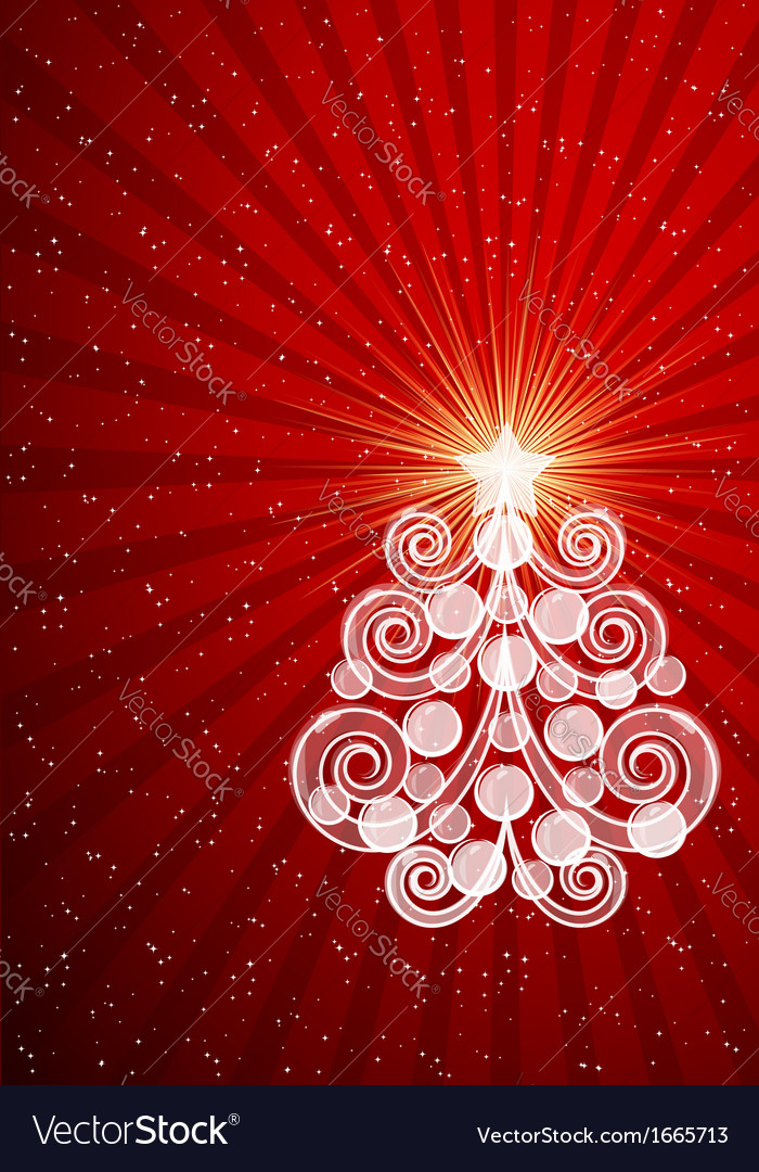 Red Christmas card with swirls tree and balls