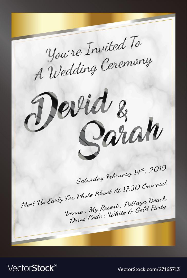Sample Wedding Card Invitation Template Eps Vector Image