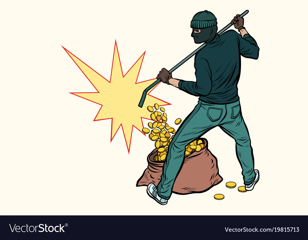 Thief with bag money