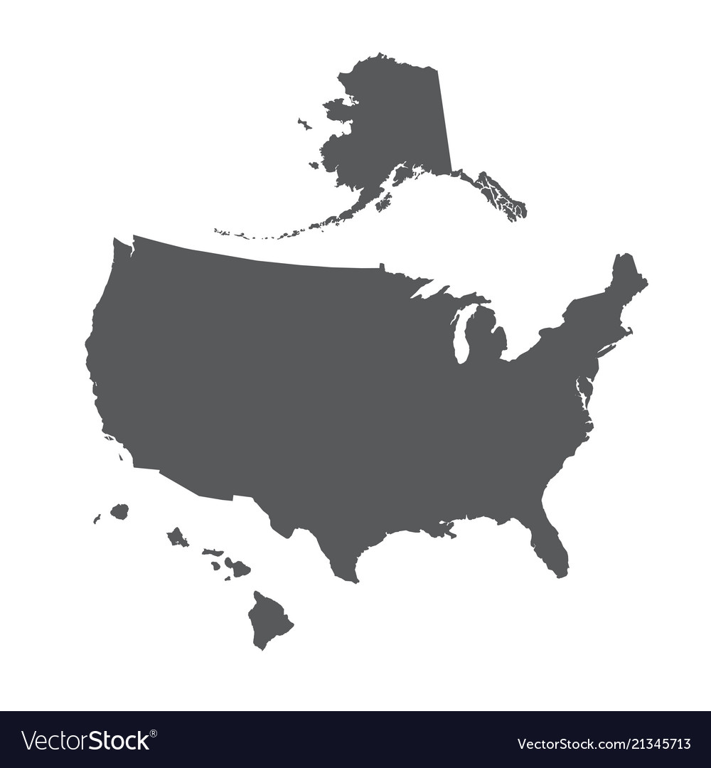 Usa map outline with alaska and hawaii islands Vector Image