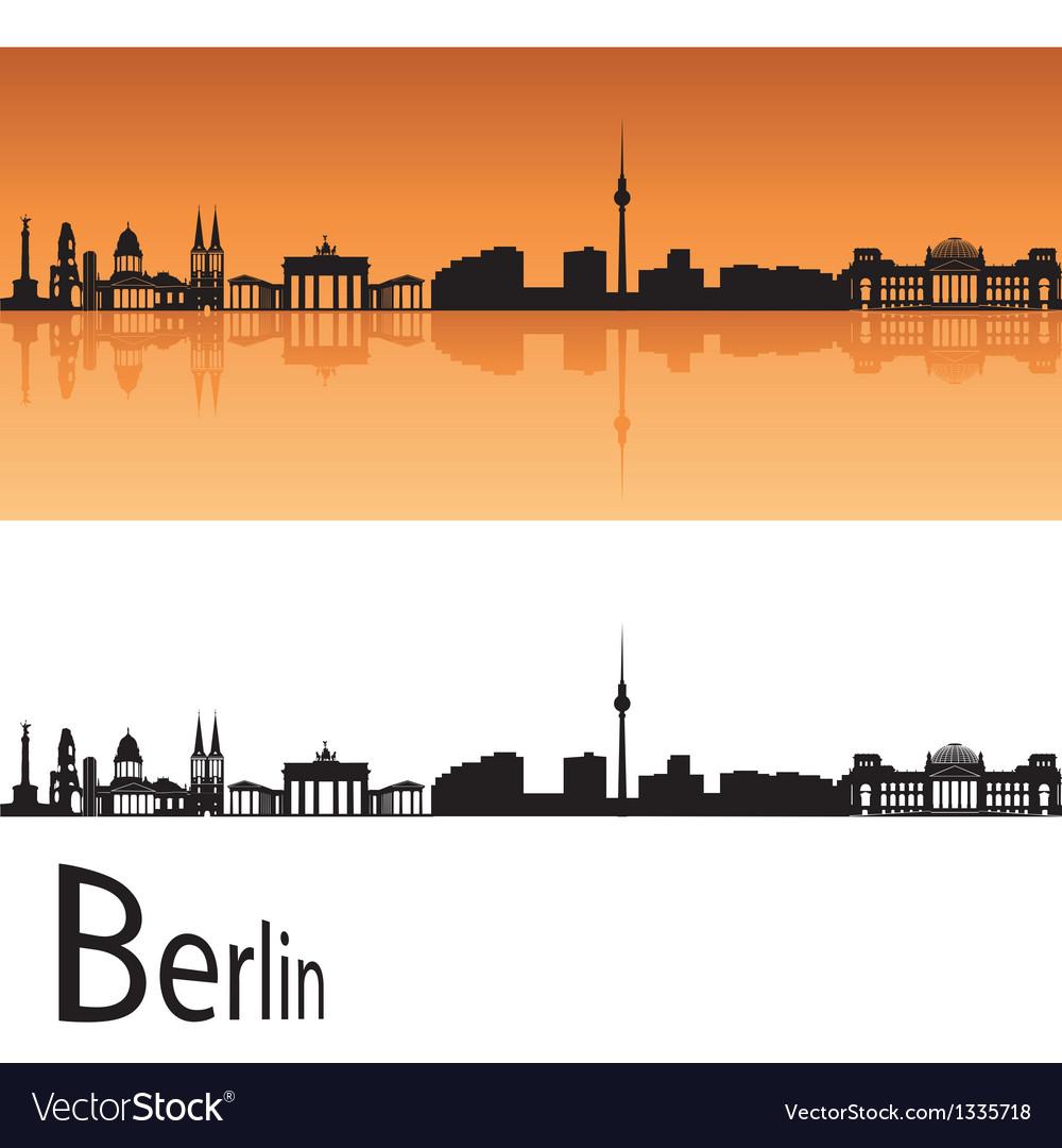 Berlin skyline in orange background vector image