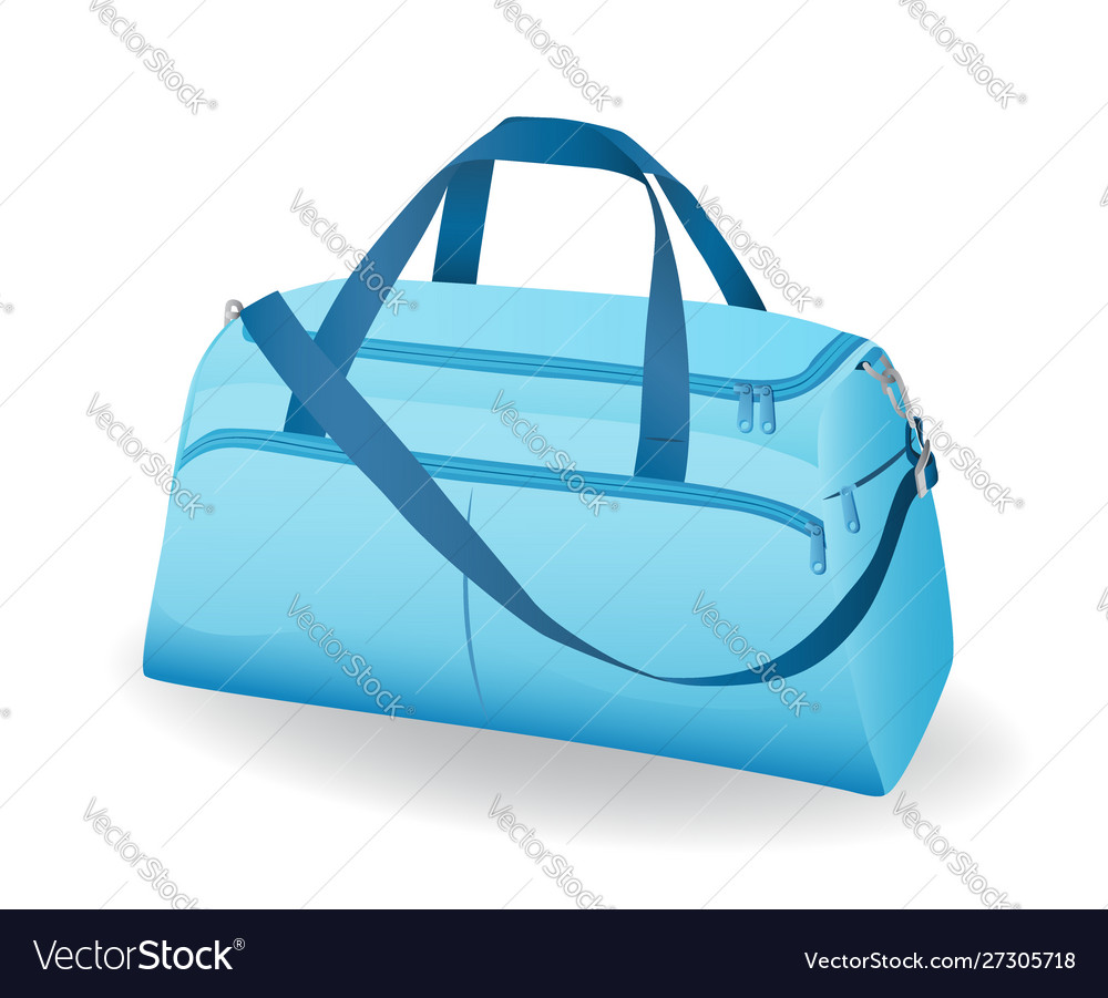 Blue sport bag for sportswear and equipment icon