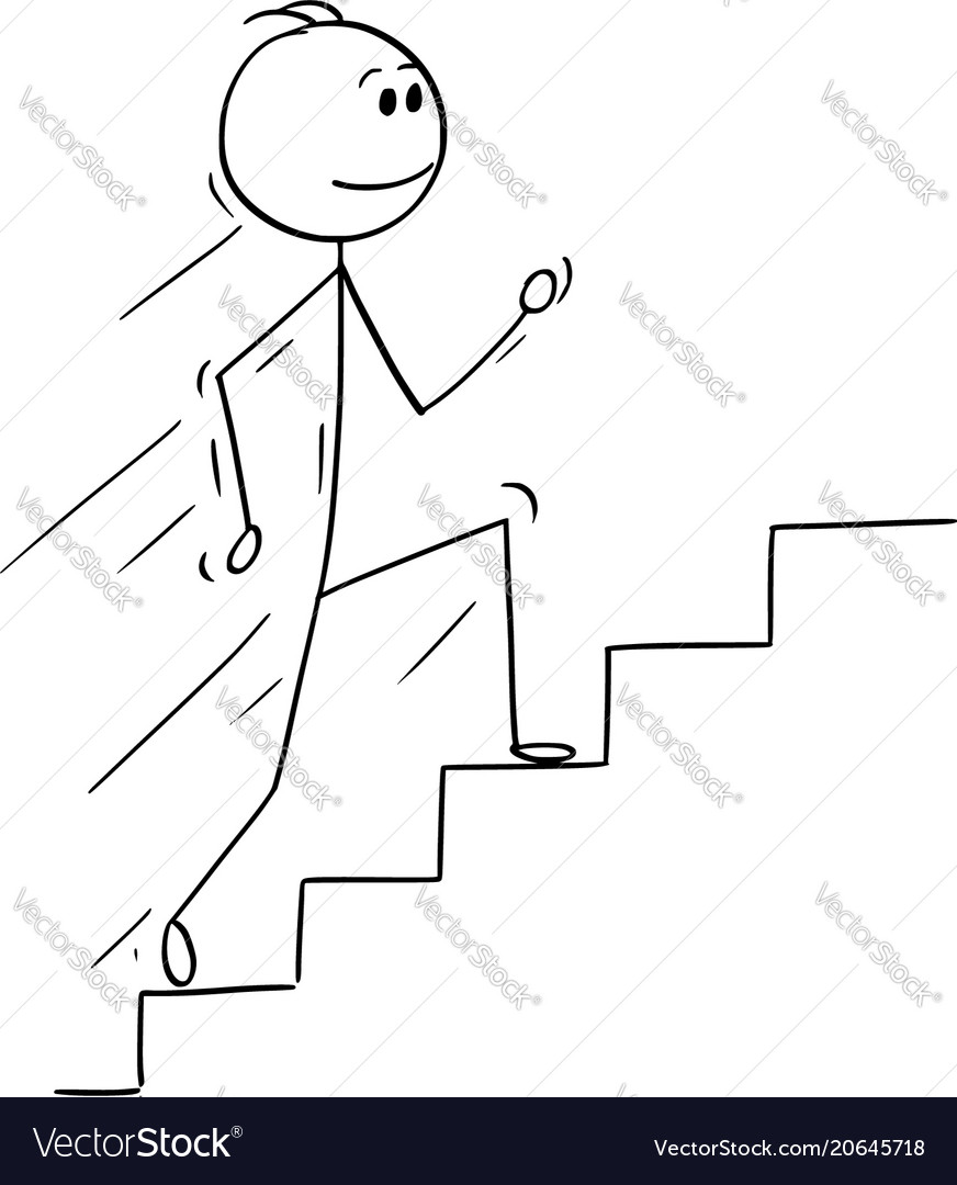 Cartoon Of Man Or Businessman Running Up Stairs Vector Image