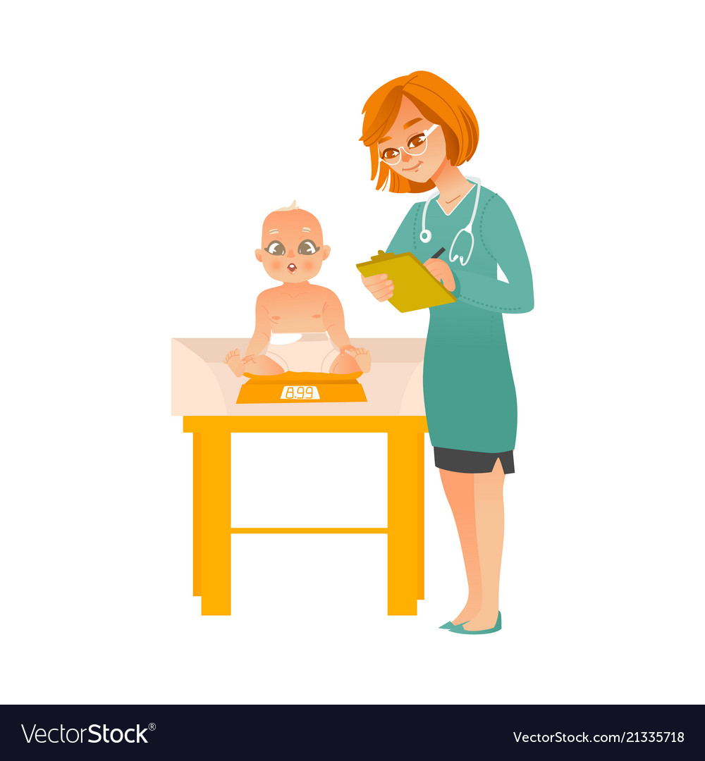 Female pediatrician doctor examines baby on