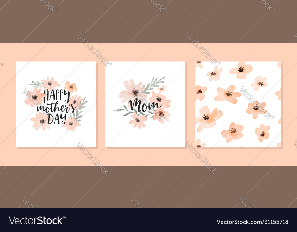 Mothers day watercolor flower pattern card set