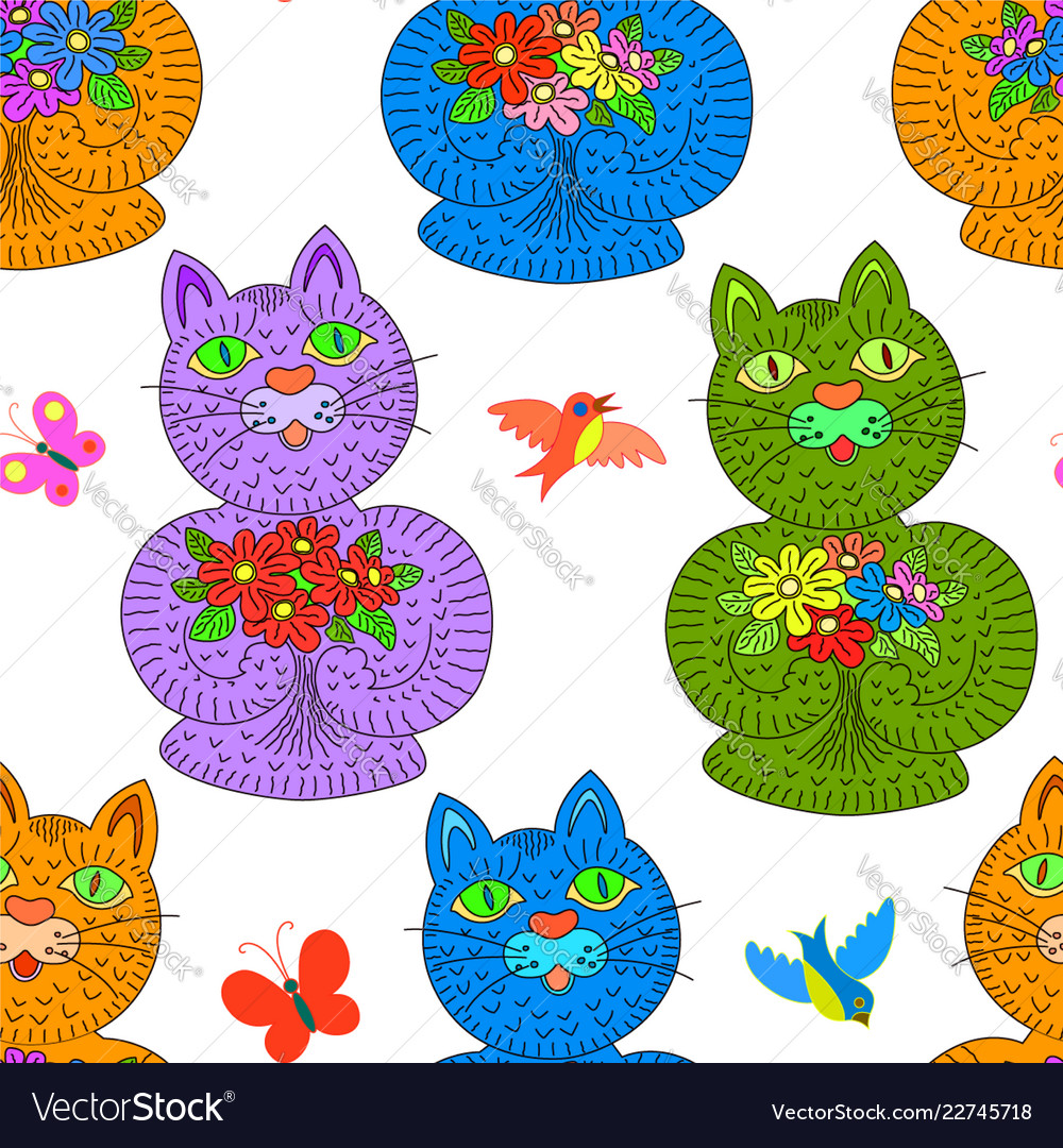 Multicolored cats with flowers seamless pattern