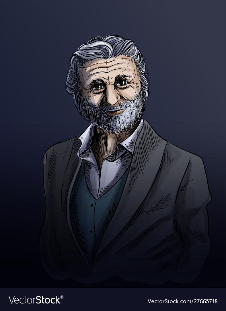 Old man sketch elegant man dressed in suite
