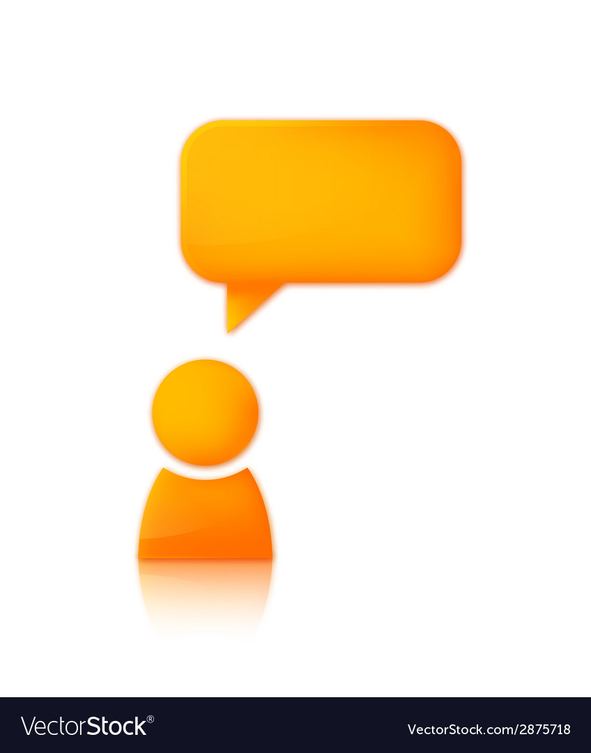 Person with speech bubble Orange icon of man vector image