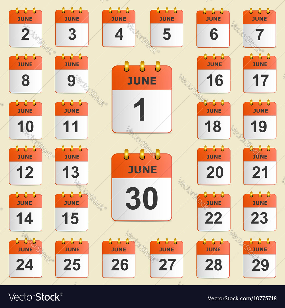 Set of icons for the calendar in June