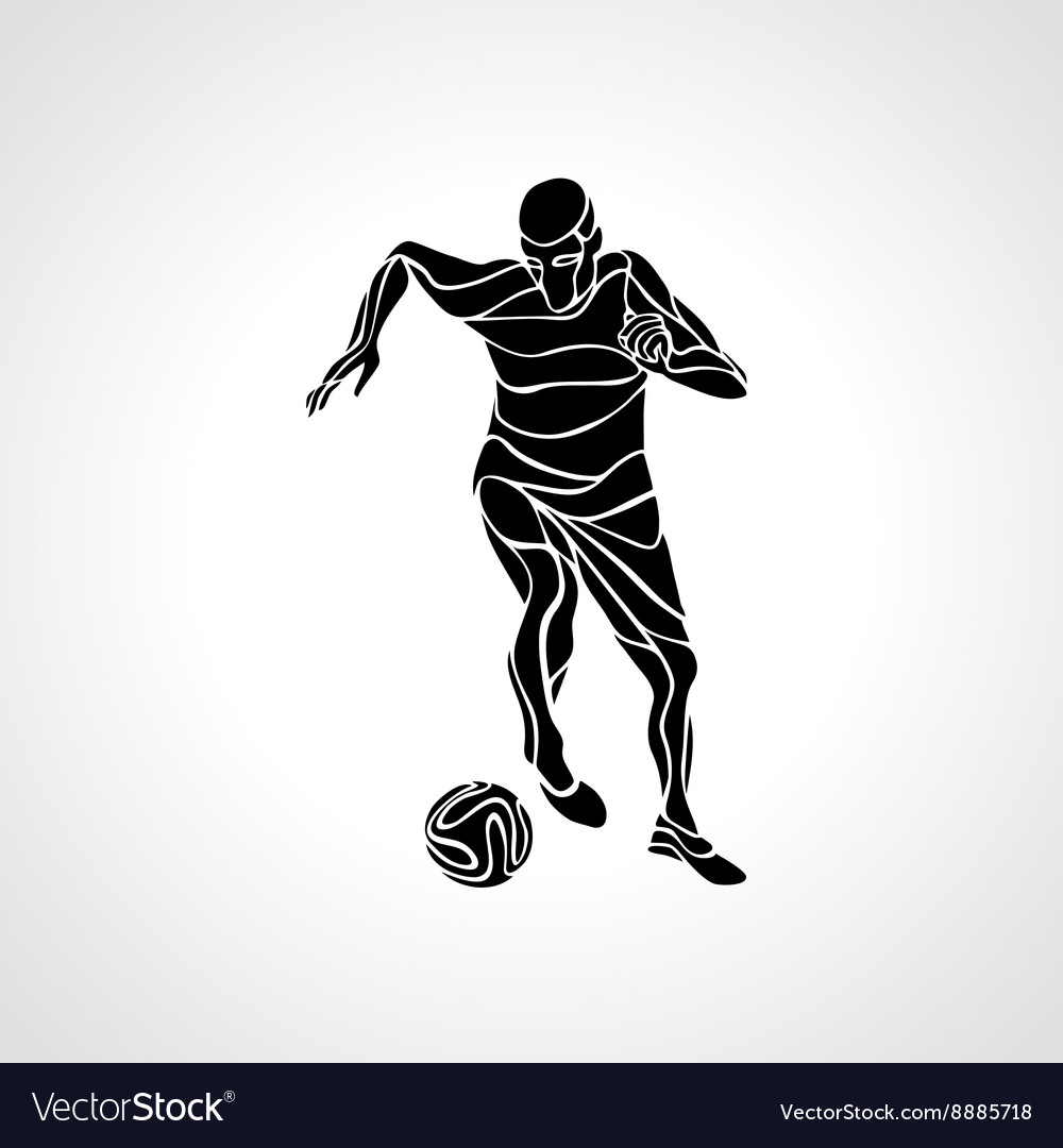 Soccer player kicks the ball Black silhouette