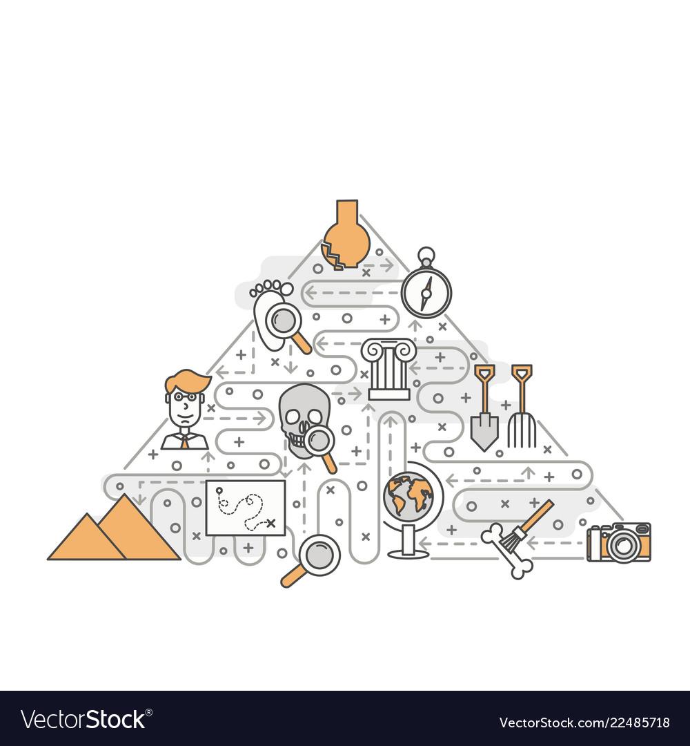 Thin line art archaeology poster banner