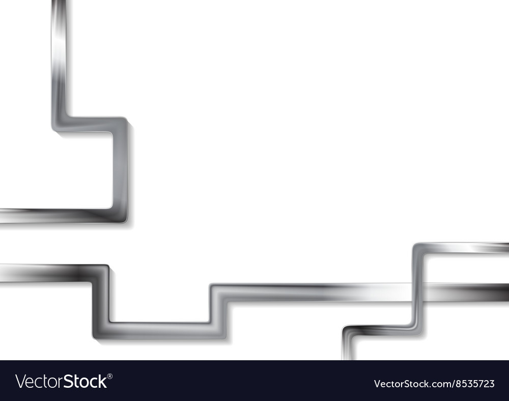 Abstract tech metallic stripes on white background vector image