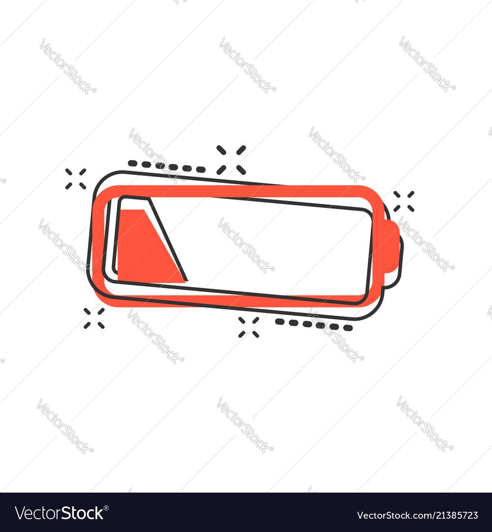 Cartoon battery charge level indicator sign icon