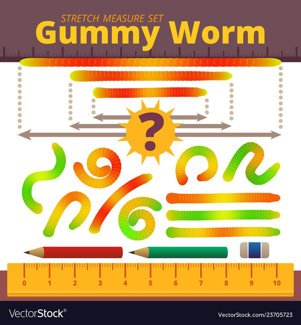 Cartoon jelly gummy worms stretch measure set
