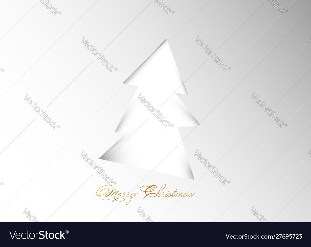 Christmas tree on white background in paper cut