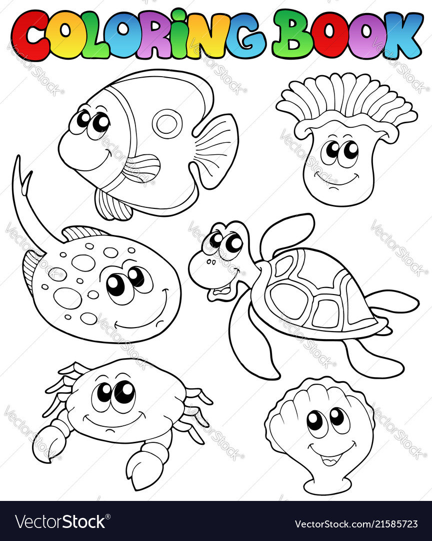 - Coloring Book With Marine Animals 3 Royalty Free Vector