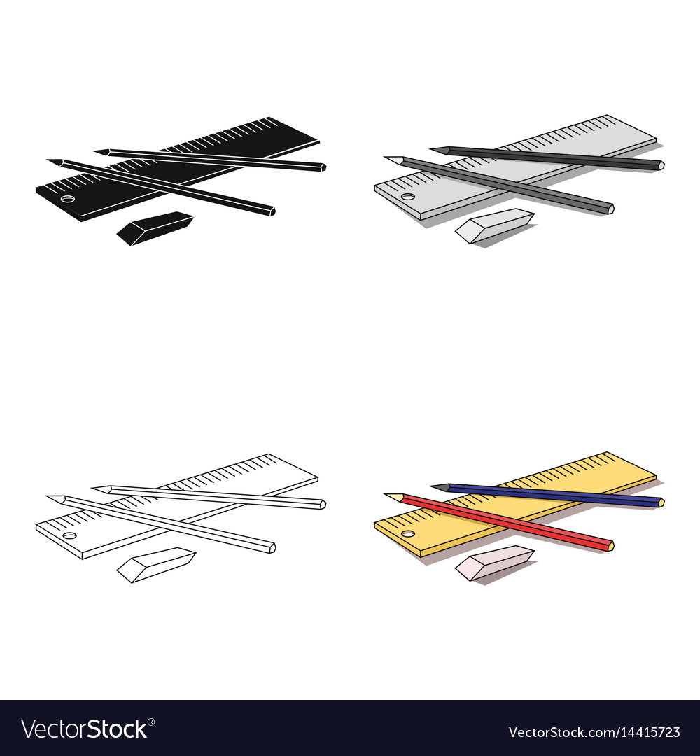 Drawing set of architect icon in cartoon style vector image