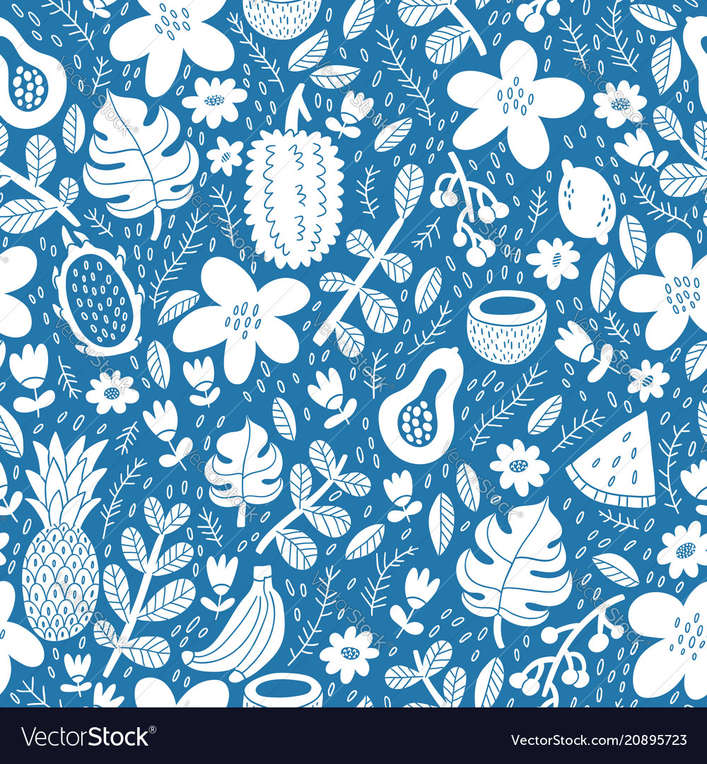 Exotic tropical fruits silhouette pattern