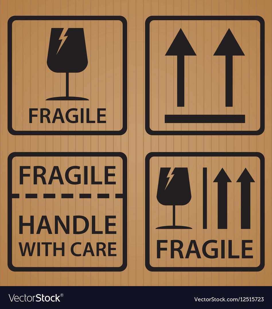 Fragile shipping label symbol on brown cardboard vector image