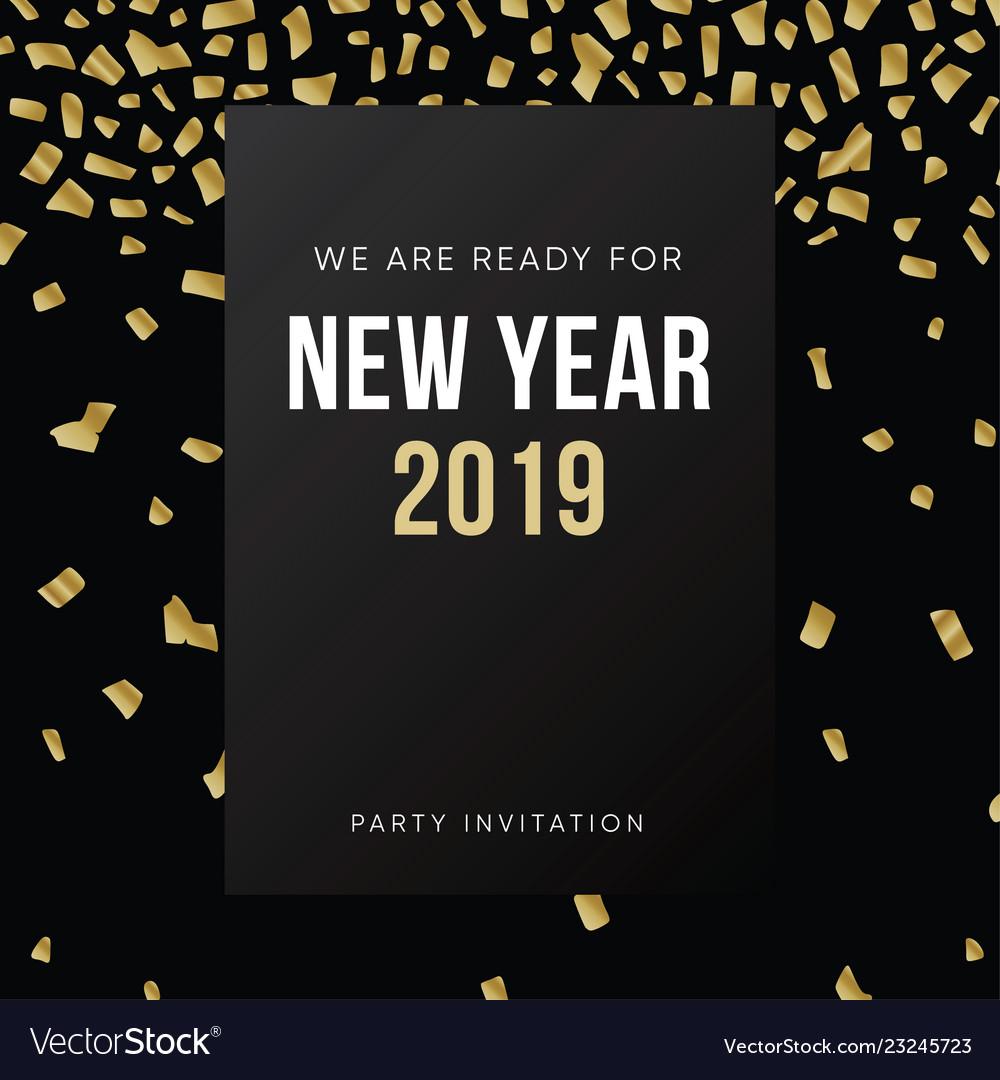 Happy new year 2019 greeting card invitation