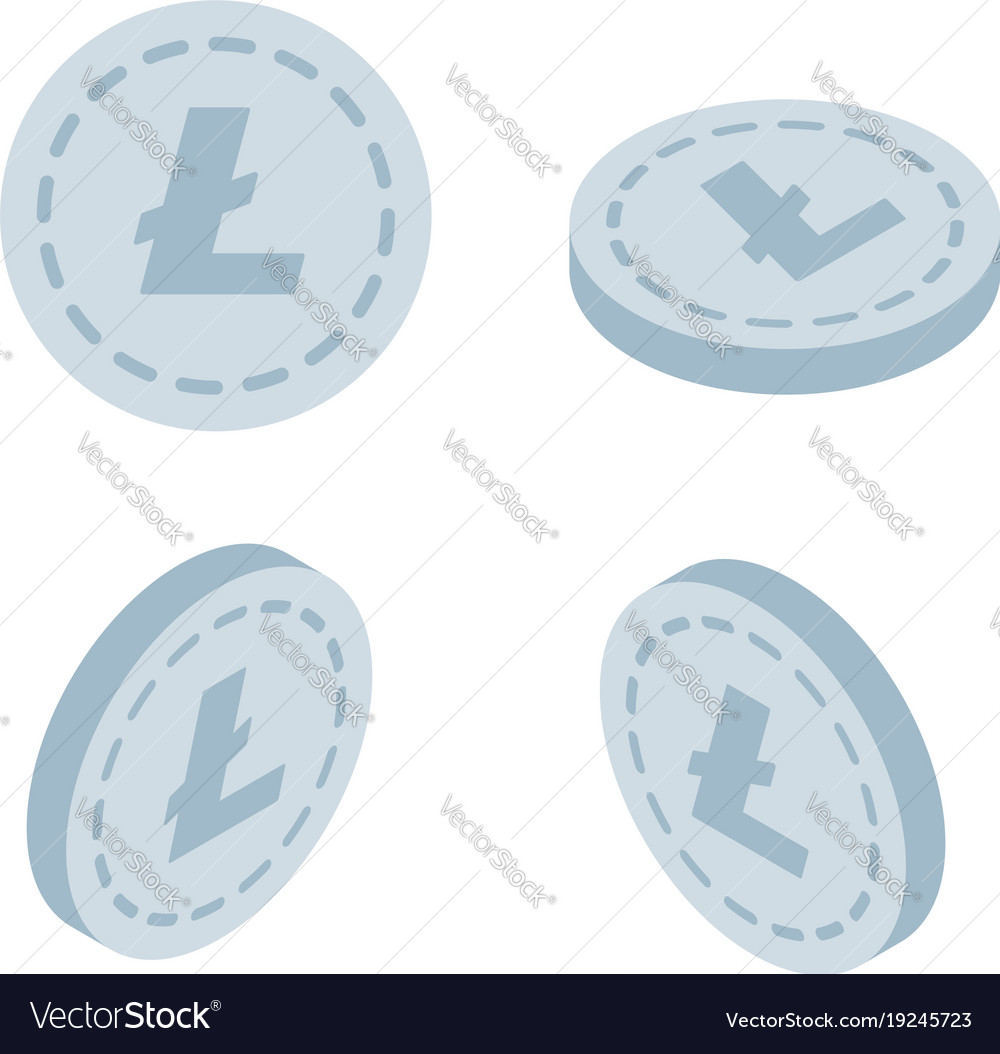Set of icons litecoin coins