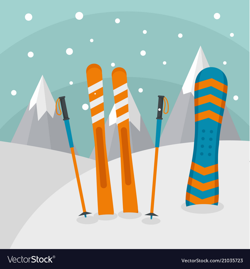 Ski mountains background flat style