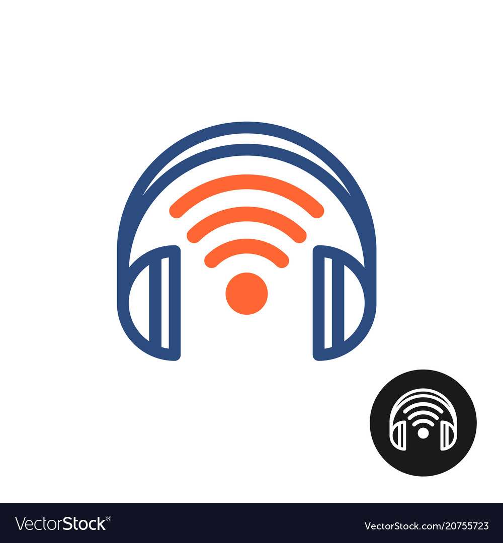 Wireless headphones color icon with wi-fi sign