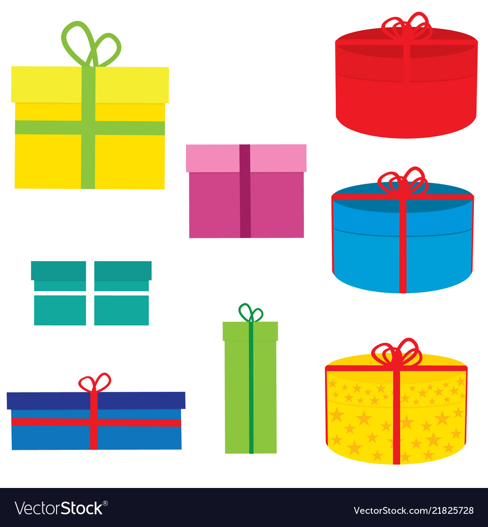 A set of boxes for gifts for birthday new year