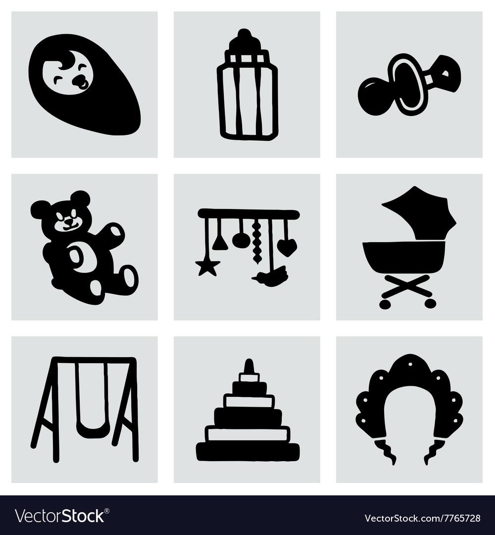 Baby icon set vector image