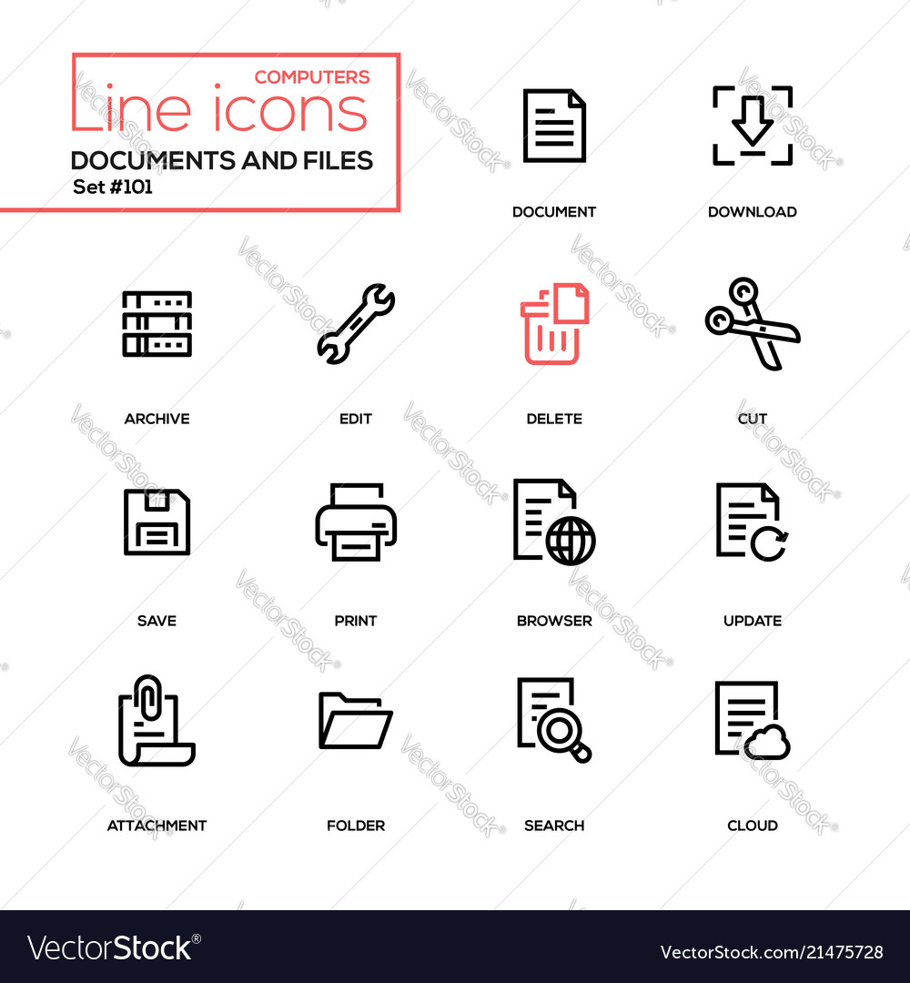 Documents and files - modern line design icons set