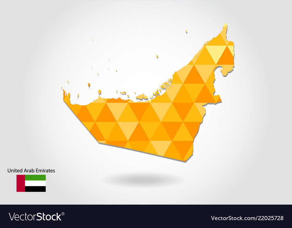 Geometric polygonal style map of united arab