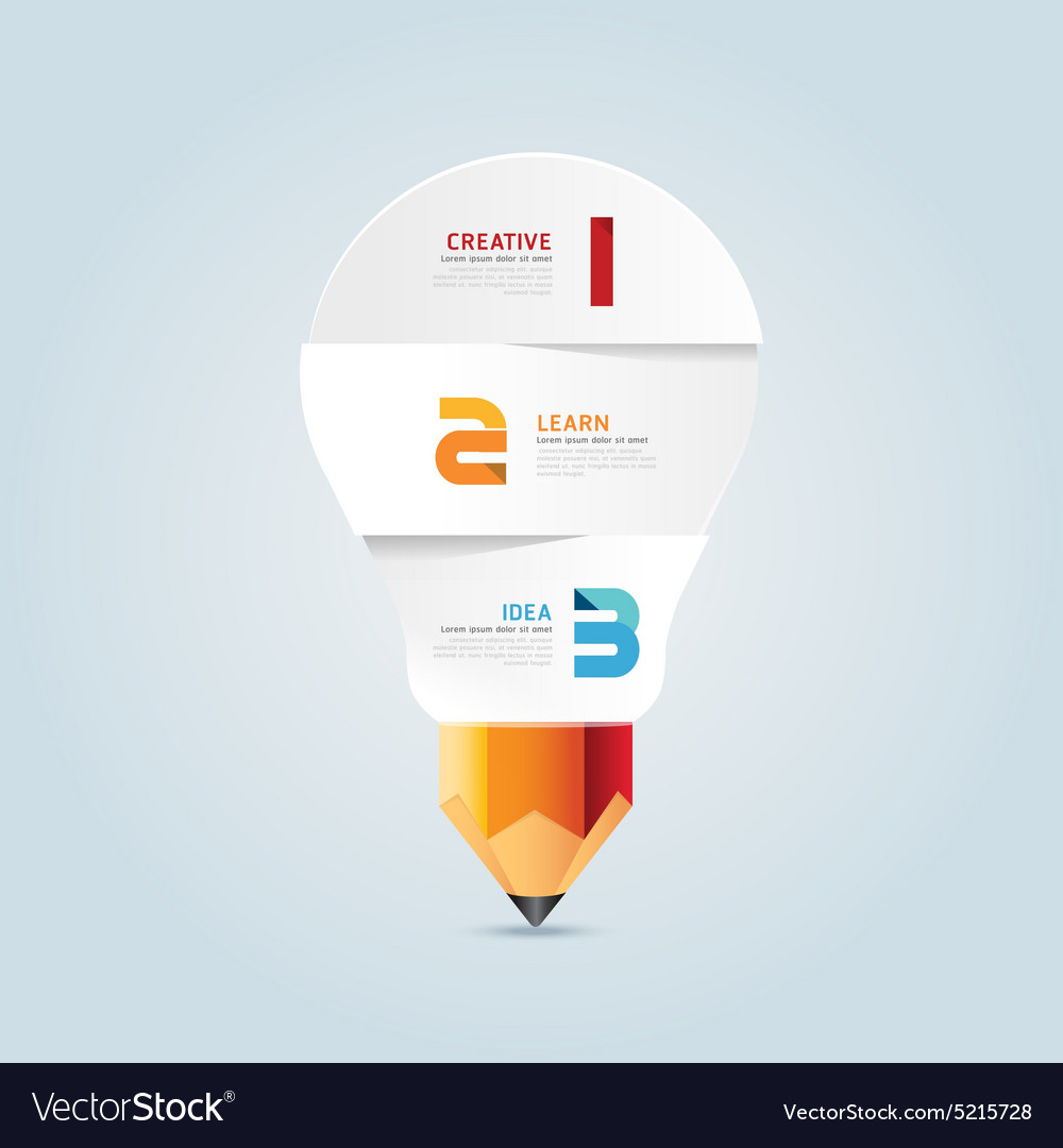 Infographic pencil with light bulb paper shape